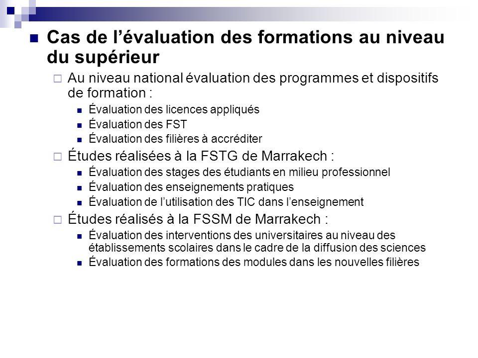 Cas de lévaluation des formations au niveau du supérieur Au niveau national évaluation des programmes et dispositifs de formation : Évaluation des lic