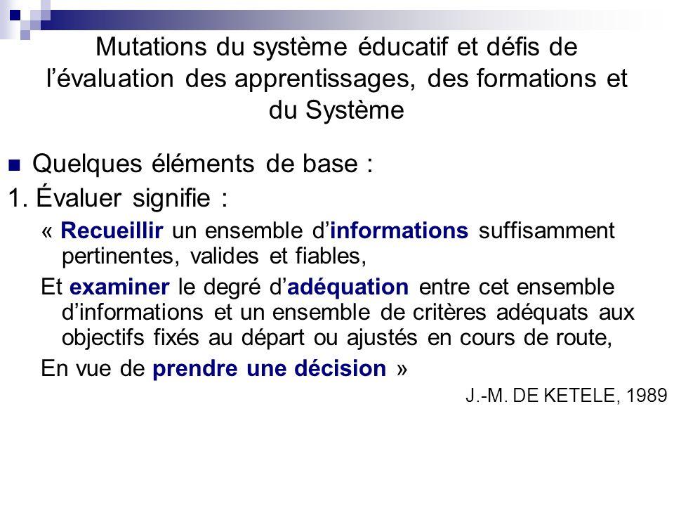 Mutations du système éducatif et défis de lévaluation des apprentissages, des formations et du Système Quelques éléments de base : 1. Évaluer signifie