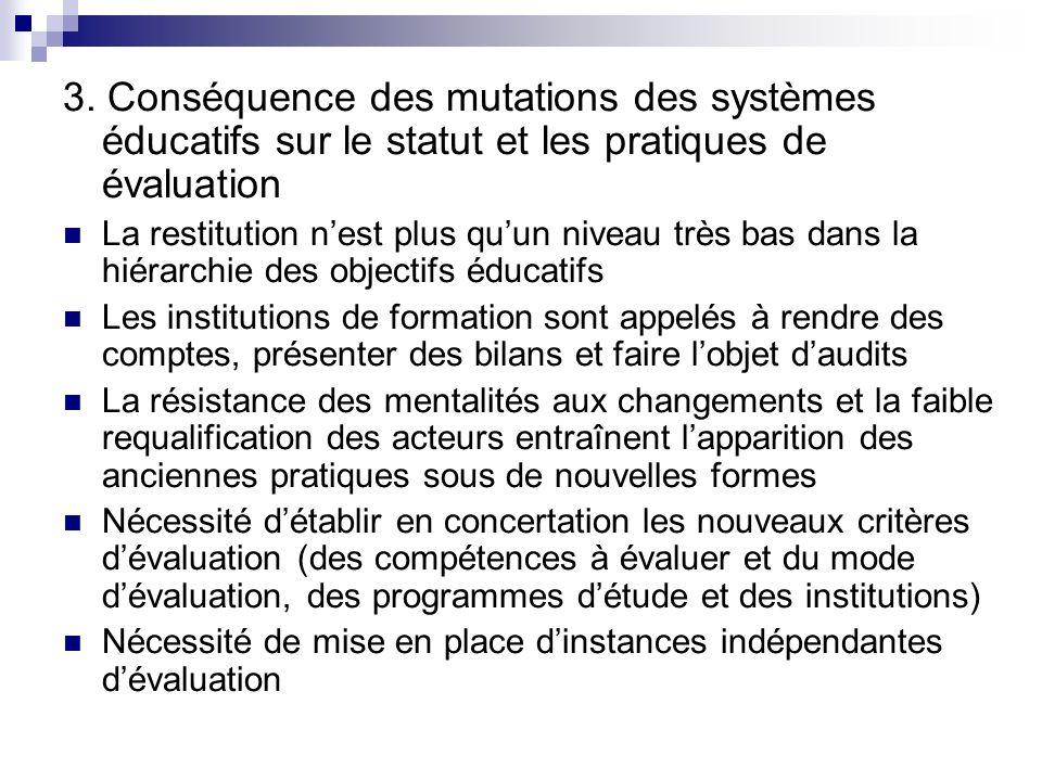 3. Conséquence des mutations des systèmes éducatifs sur le statut et les pratiques de évaluation La restitution nest plus quun niveau très bas dans la
