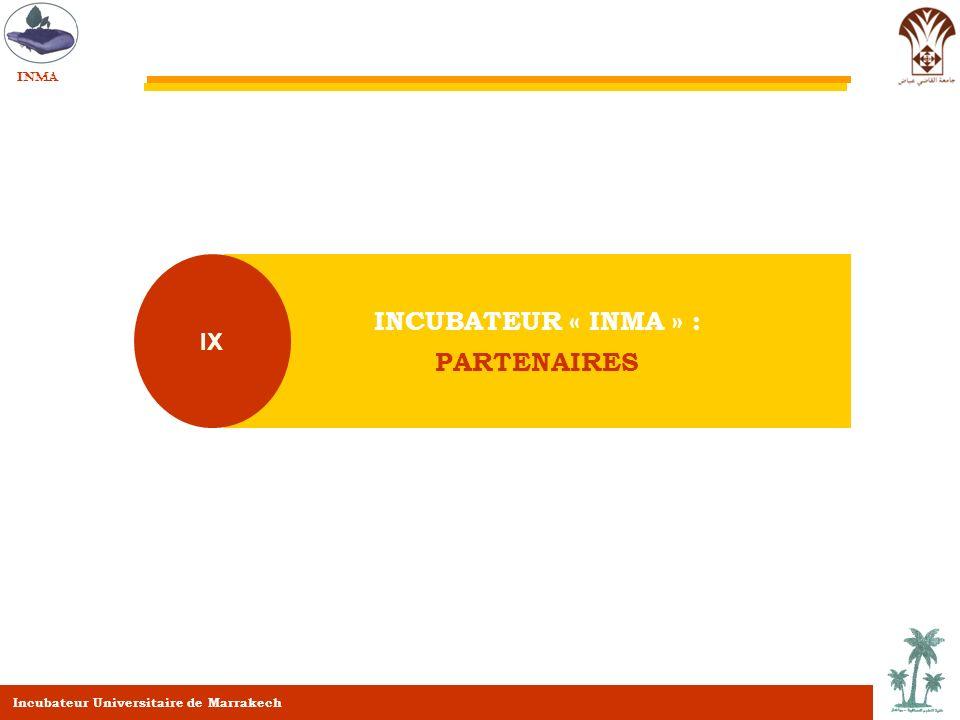 INCUBATEUR « INMA » : PARTENAIRES IX INMA Incubateur Universitaire de Marrakech
