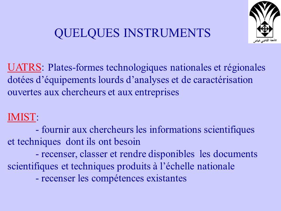 QUELQUES INSTRUMENTS UATRS: Plates-formes technologiques nationales et régionales dotées déquipements lourds danalyses et de caractérisation ouvertes