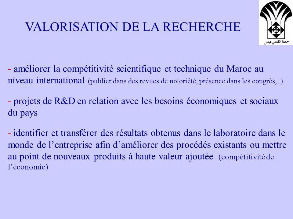 QUELQUES INSTRUMENTS Directions de la Technologie (valorisation, interfaces, formations,..) Association R&D Maroc: Association reconnue d utilité publique, regroupant des entreprises privées (financer des projets de R&D) RDT (Réseau de Diffusion Technologique): aider les entreprises à identifier et faire appel à linnovation technologique pour augmenter leur compétitivité RGI (Réseau du Génie Industriel): assister les entreprises dans le domaine du Génie Industriel RMIE (Réseau Marocain Incubation et Essaimage): assister les universités à développer des politiques dincubation et de création dentreprises INTERFACES INCUBATEURS