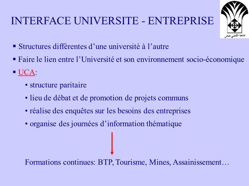 INTERFACE UNIVERSITE - ENTREPRISE Structures différentes dune université à lautre Faire le lien entre lUniversité et son environnement socio-économiqu