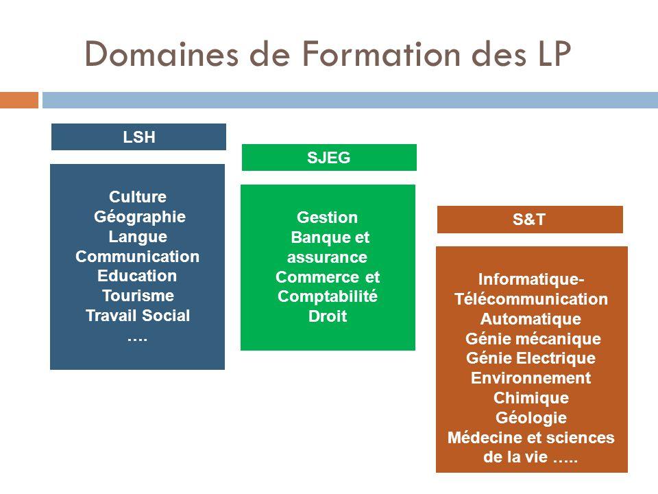Domaines de Formation des LP LSH Culture Géographie Langue Communication Education Tourisme Travail Social …. SJEG Gestion Banque et assurance Commerc