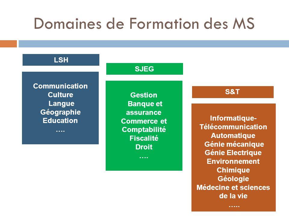 Domaines de Formation des MS LSH Communication Culture Langue Géographie Education …. SJEG Gestion Banque et assurance Commerce et Comptabilité Fiscal