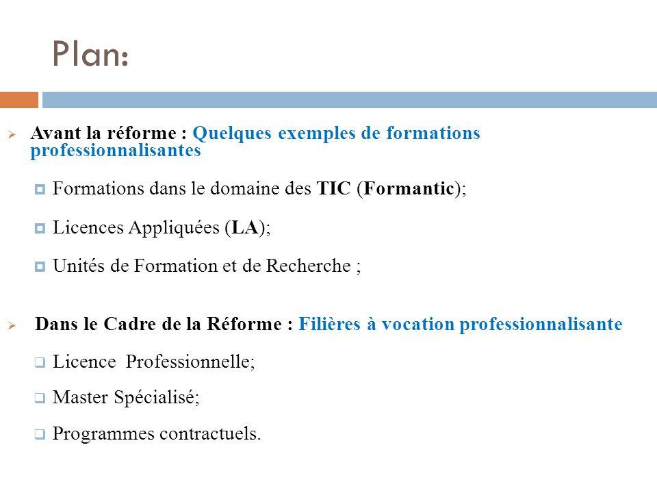 Plan: Avant la réforme : Quelques exemples de formations professionnalisantes Formations dans le domaine des TIC (Formantic); Licences Appliquées (LA)