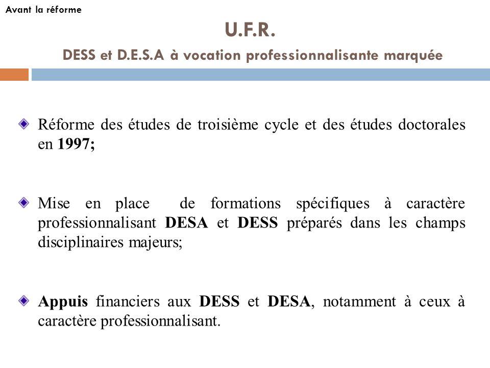U.F.R. DESS et D.E.S.A à vocation professionnalisante marquée Réforme des études de troisième cycle et des études doctorales en 1997; Mise en place de