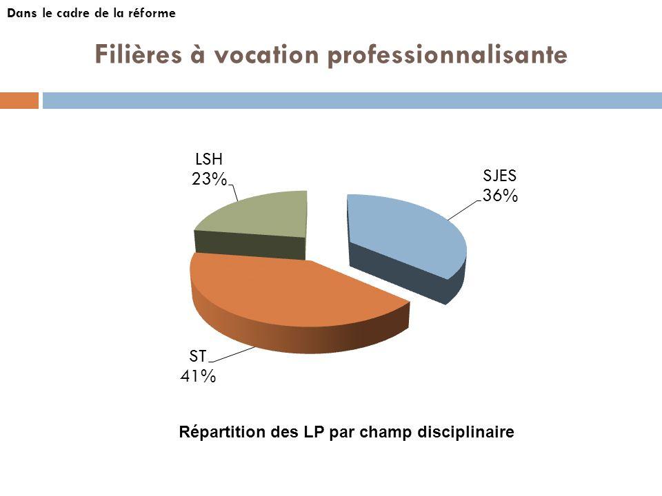 Filières à vocation professionnalisante Dans le cadre de la réforme Répartition des LP par champ disciplinaire