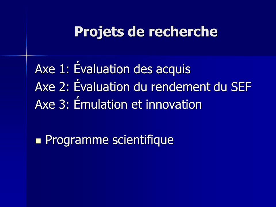 Projets de recherche Axe 1: Évaluation des acquis Axe 2: Évaluation du rendement du SEF Axe 3: Émulation et innovation Programme scientifique Programm