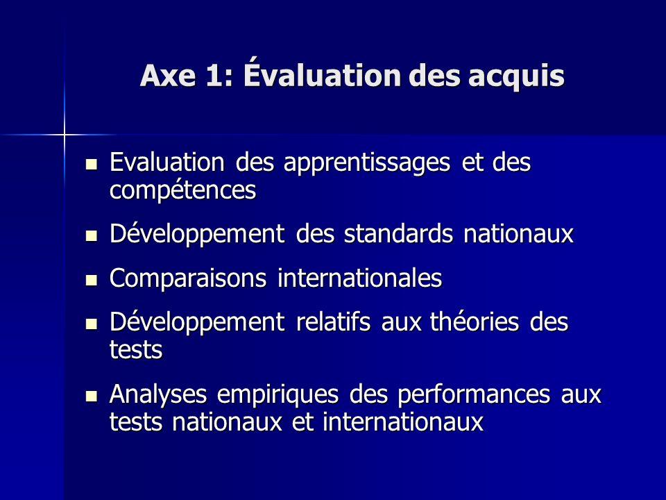 Axe 1: Évaluation des acquis Evaluation des apprentissages et des compétences Evaluation des apprentissages et des compétences Développement des stand