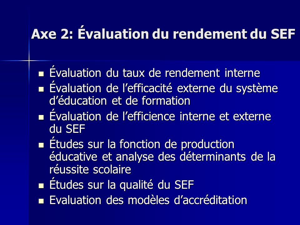 Axe 2: Évaluation du rendement du SEF Évaluation du taux de rendement interne Évaluation du taux de rendement interne Évaluation de lefficacité extern