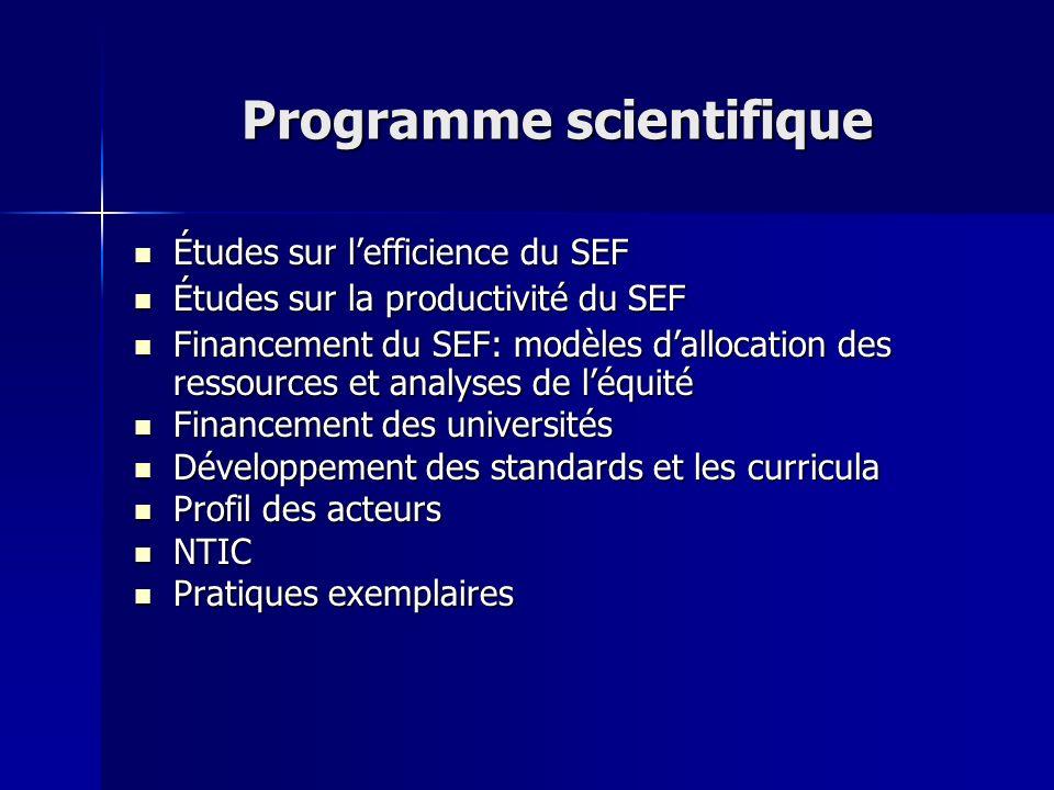 Programme scientifique Études sur lefficience du SEF Études sur lefficience du SEF Études sur la productivité du SEF Études sur la productivité du SEF