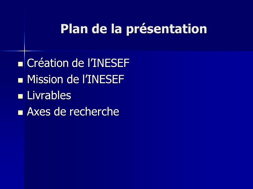 Plan de la présentation Création de lINESEF Création de lINESEF Mission de lINESEF Mission de lINESEF Livrables Livrables Axes de recherche Axes de re