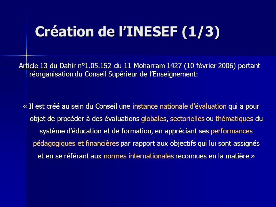 Création de lINESEF (1/3) Article 13 du Dahir n°1.05.152 du 11 Moharram 1427 (10 février 2006) portant réorganisation du Conseil Supérieur de lEnseign