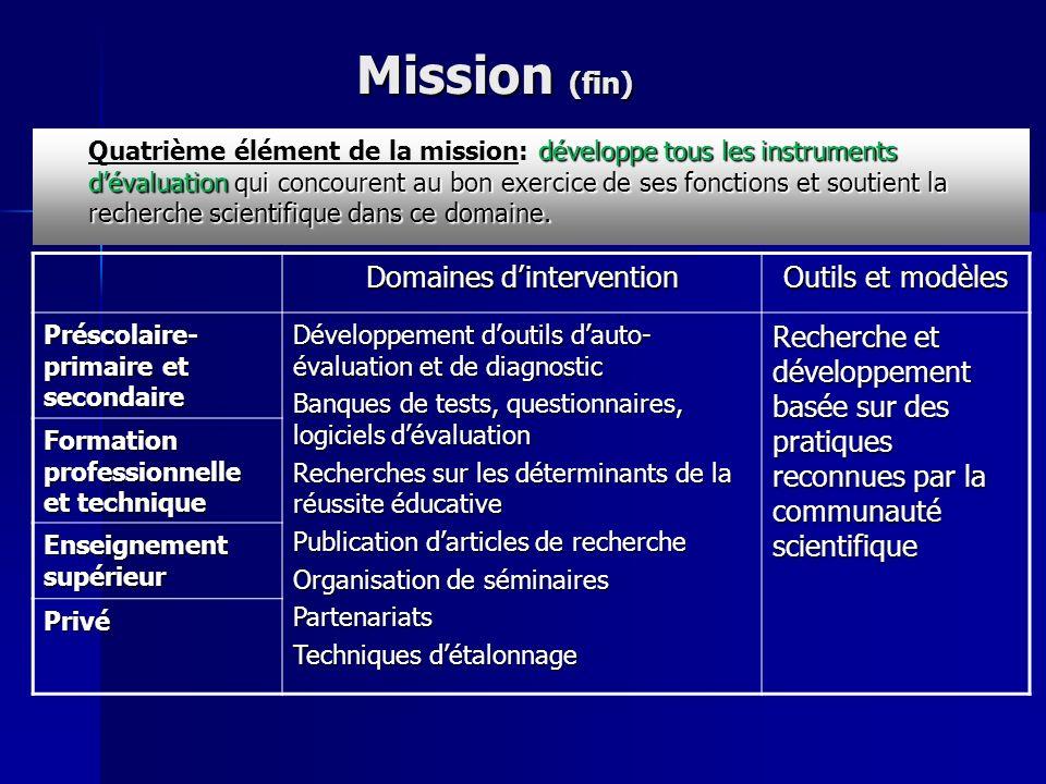 Mission (fin) Domaines dintervention Outils et modèles Préscolaire- primaire et secondaire Développement doutils dauto- évaluation et de diagnostic Ba