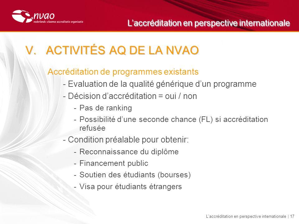 Laccréditation en perspective internationale L'accréditation en perspective internationale | 17 Accréditation de programmes existants -Evaluation de l