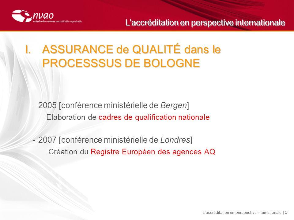 Laccréditation en perspective internationale L accréditation en perspective internationale | 6 I.ASSURANCE de QUALITÉ dans le PROCESSSUS DE BOLOGNE Situation AQ en Europe 2007
