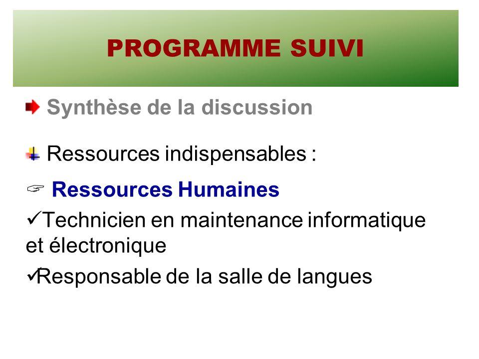 PROGRAMME SUIVI Synthèse de la discussion Ressources indispensables : Ressources Humaines Technicien en maintenance informatique et électronique Responsable de la salle de langues