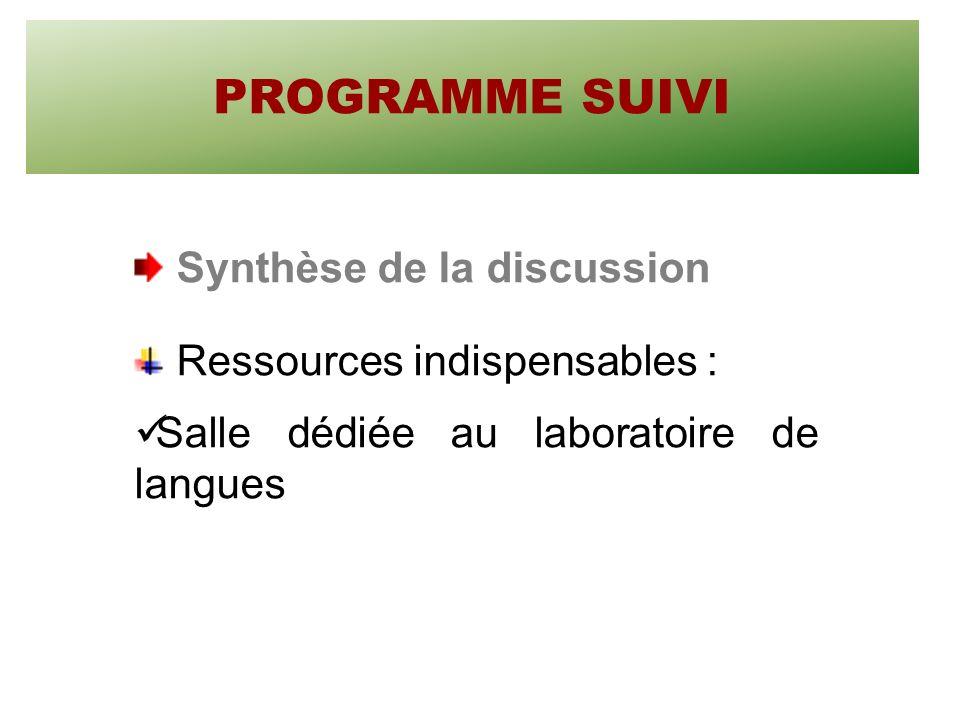 PROGRAMME SUIVI Synthèse de la discussion Ressources indispensables : Salle dédiée au laboratoire de langues