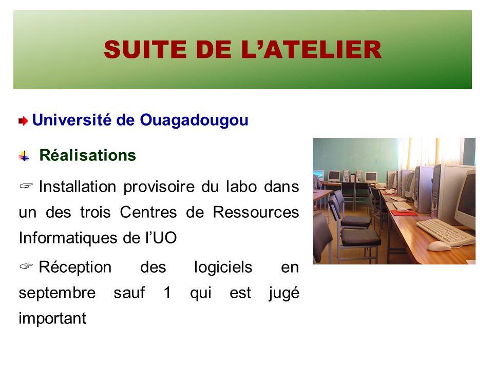 SUITE DE LATELIER Université de Ouagadougou Réalisations Installation provisoire du labo dans un des trois Centres de Ressources Informatiques de lUO Réception des logiciels en septembre sauf 1 qui est jugé important