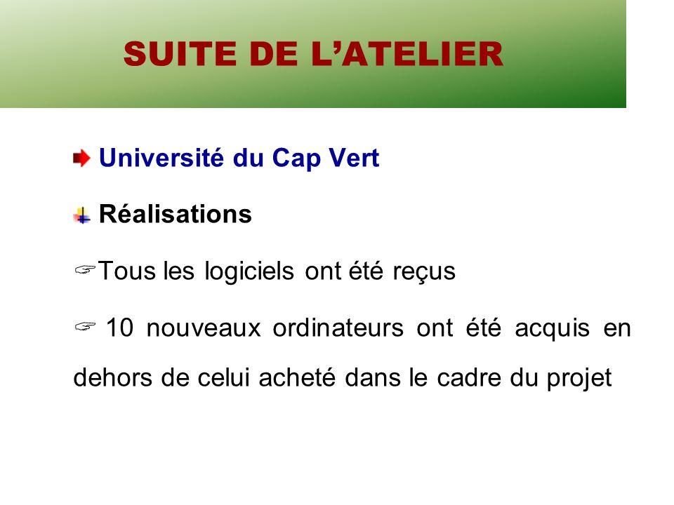 SUITE DE LATELIER Université du Cap Vert Réalisations Tous les logiciels ont été reçus 10 nouveaux ordinateurs ont été acquis en dehors de celui acheté dans le cadre du projet