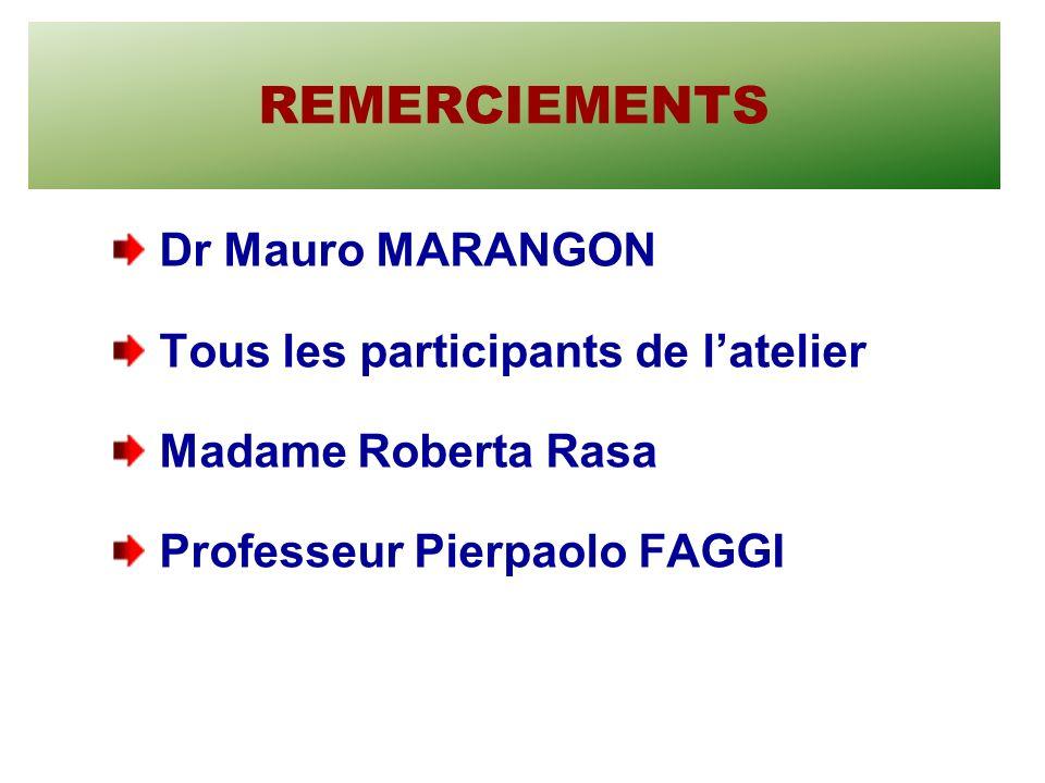 REMERCIEMENTS Dr Mauro MARANGON Tous les participants de latelier Madame Roberta Rasa Professeur Pierpaolo FAGGI