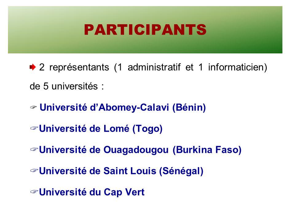 PARTICIPANTS 2 représentants (1 administratif et 1 informaticien) de 5 universités : Université dAbomey-Calavi (Bénin) Université de Lomé (Togo) Université de Ouagadougou (Burkina Faso) Université de Saint Louis (Sénégal) Université du Cap Vert