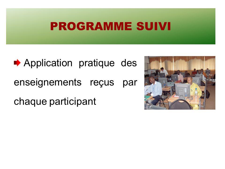 PROGRAMME SUIVI Application pratique des enseignements reçus par chaque participant