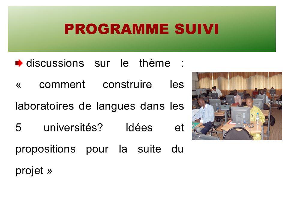 SUITE DE LATELIER Université de Lomé Réalisations Compétences acquises par les deux cadres togolais qui ont participés au séminaire du Bénin sont capables de former leurs collègues des relations internationales