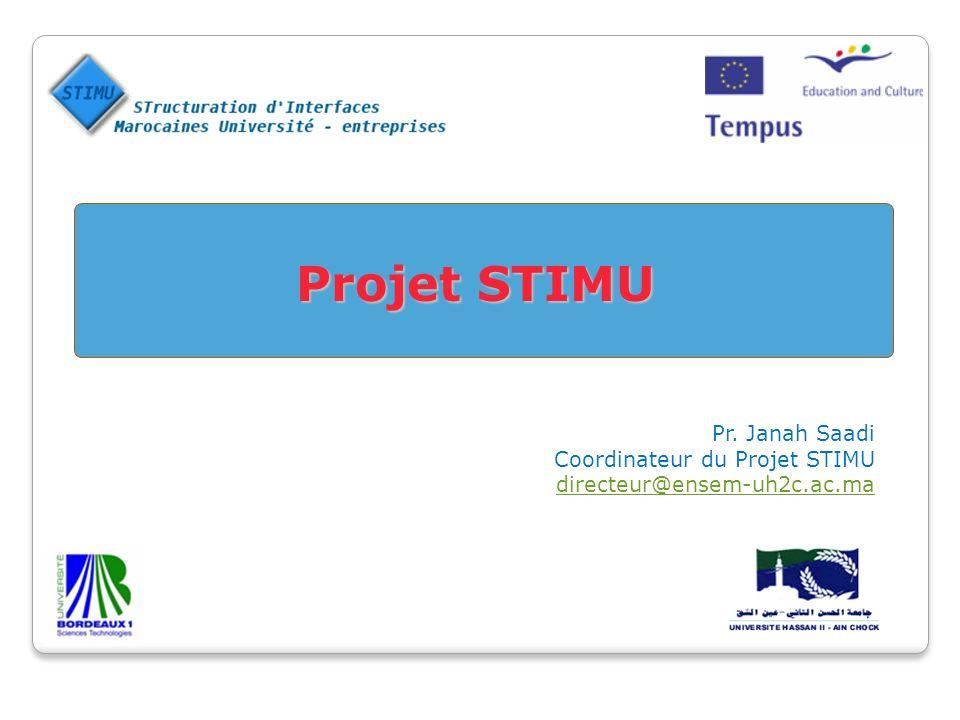 Projet STIMU Projet STIMU Pr. Janah Saadi Coordinateur du Projet STIMU directeur@ensem-uh2c.ac.ma