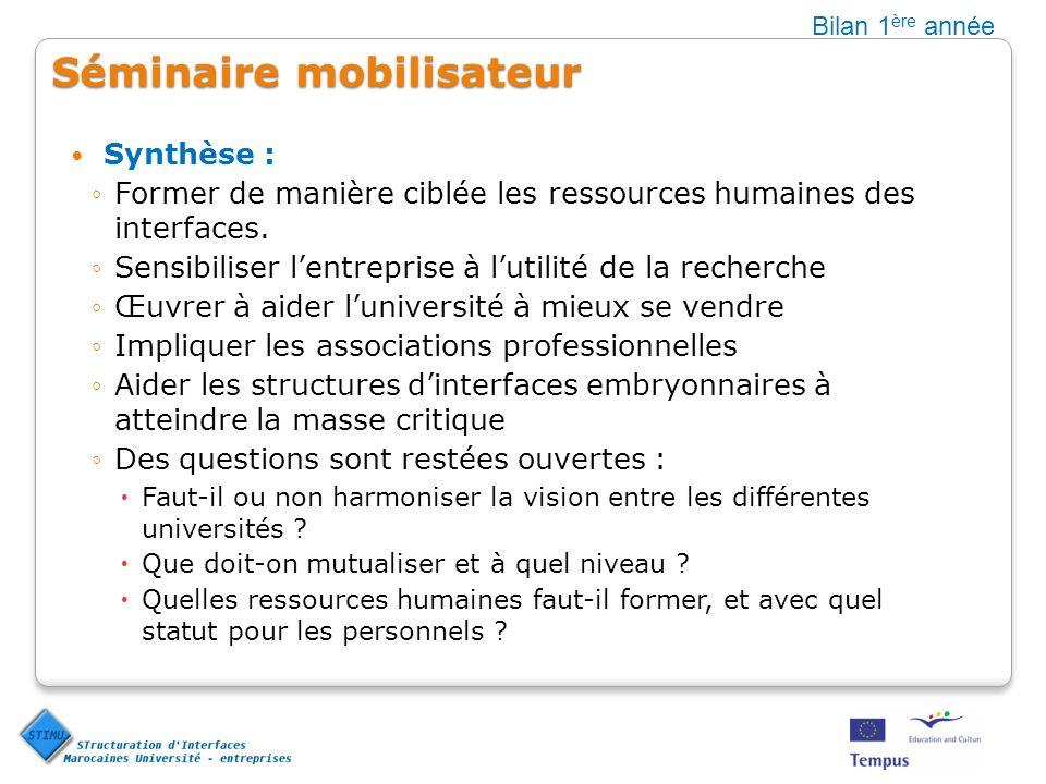 Séminaire mobilisateur Synthèse : Former de manière ciblée les ressources humaines des interfaces.