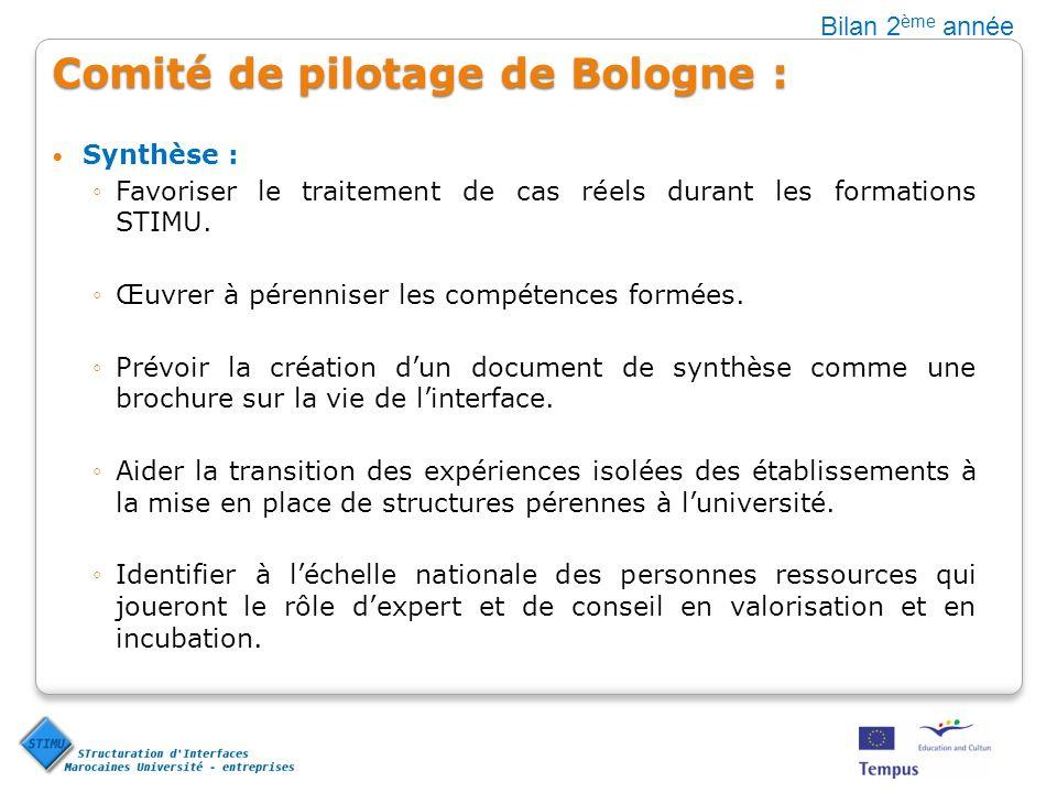 Comité de pilotage de Bologne : Synthèse : Favoriser le traitement de cas réels durant les formations STIMU. Œuvrer à pérenniser les compétences formé