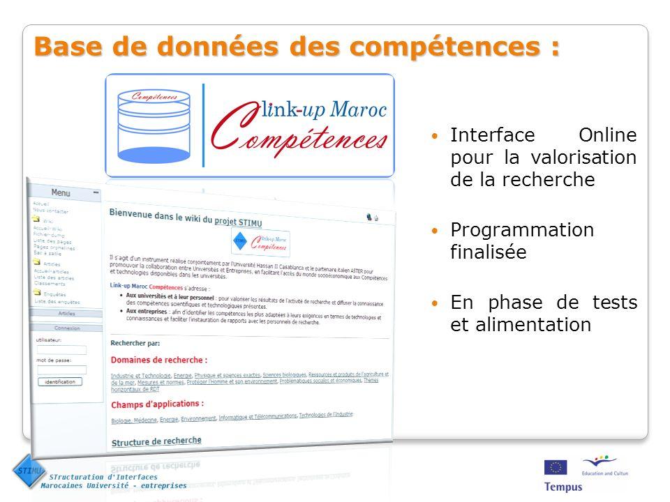 Base de données des compétences : Interface Online pour la valorisation de la recherche Programmation finalisée En phase de tests et alimentation