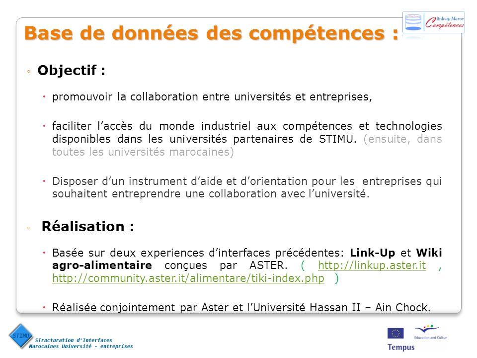 Base de données des compétences : Objectif : promouvoir la collaboration entre universités et entreprises, faciliter laccès du monde industriel aux co