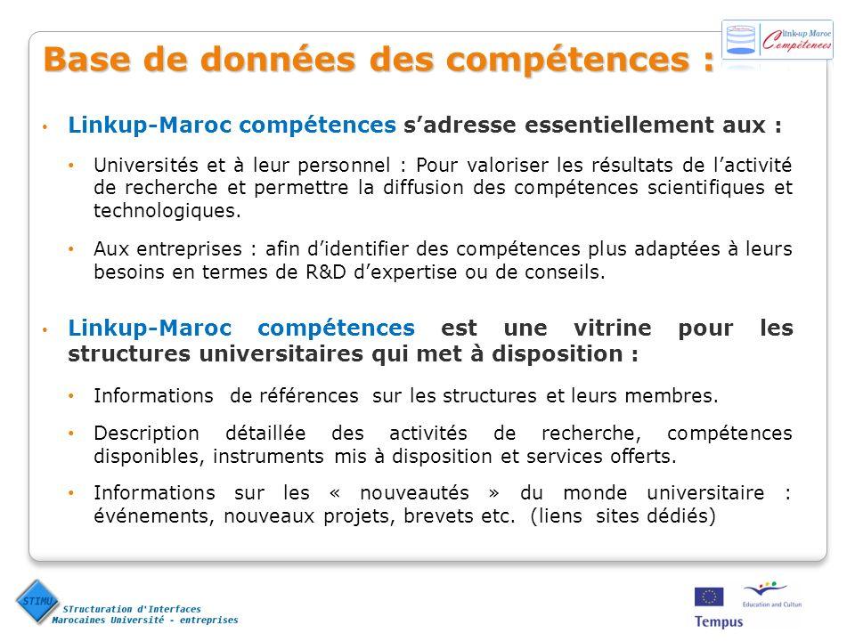 Base de données des compétences : Linkup-Maroc compétences sadresse essentiellement aux : Universités et à leur personnel : Pour valoriser les résultats de lactivité de recherche et permettre la diffusion des compétences scientifiques et technologiques.