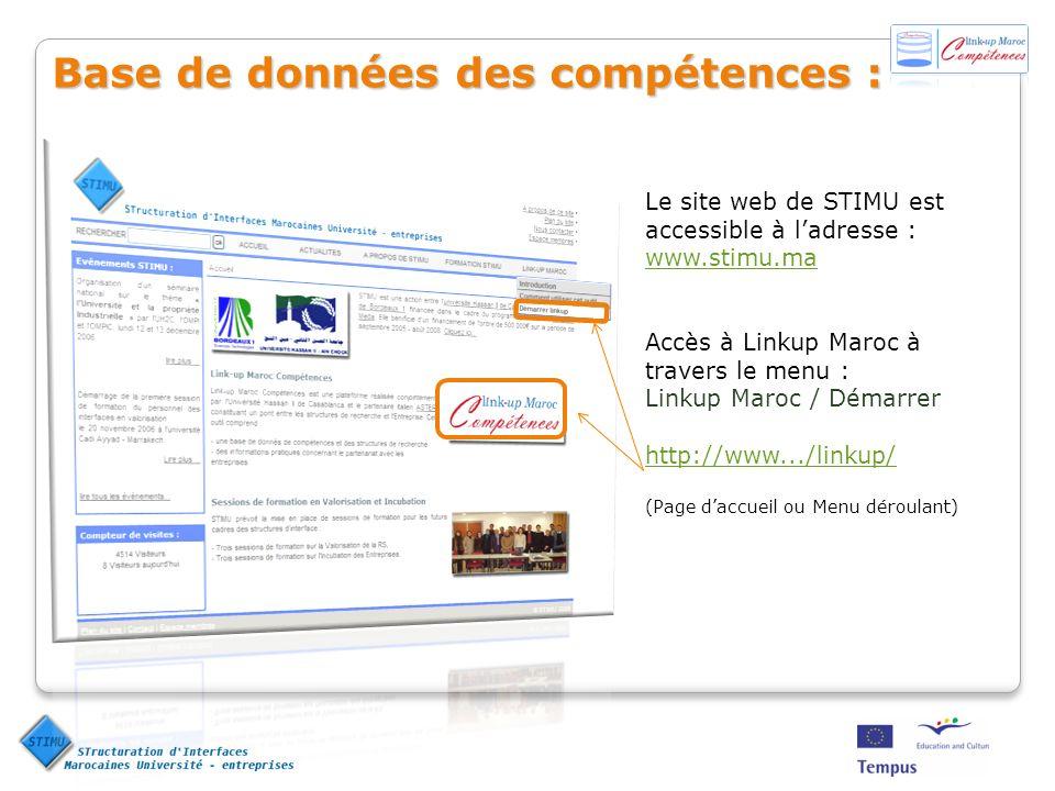 Le site web de STIMU est accessible à ladresse : www.stimu.ma www.stimu.ma Accès à Linkup Maroc à travers le menu : Linkup Maroc / Démarrer http://www
