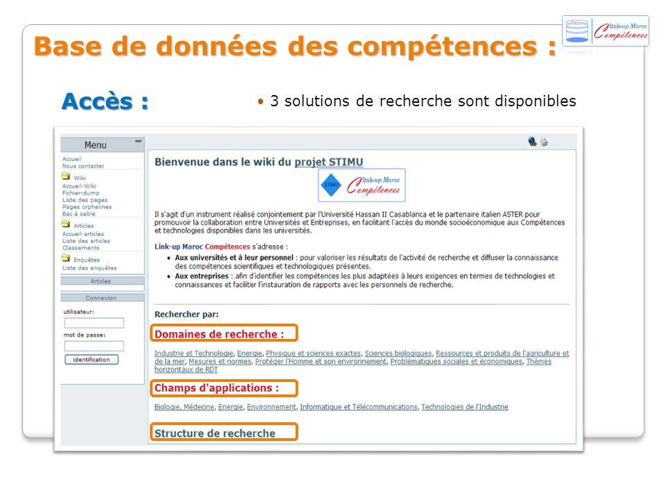 3 solutions de recherche sont disponibles Accès : Base de données des compétences :