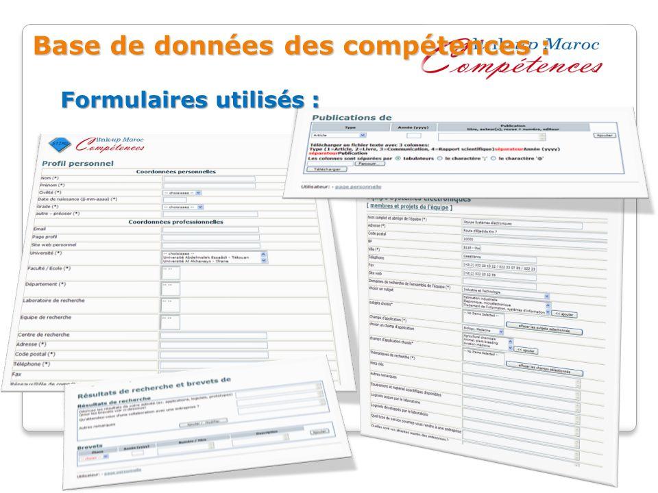 Formulaires utilisés : Base de données des compétences :