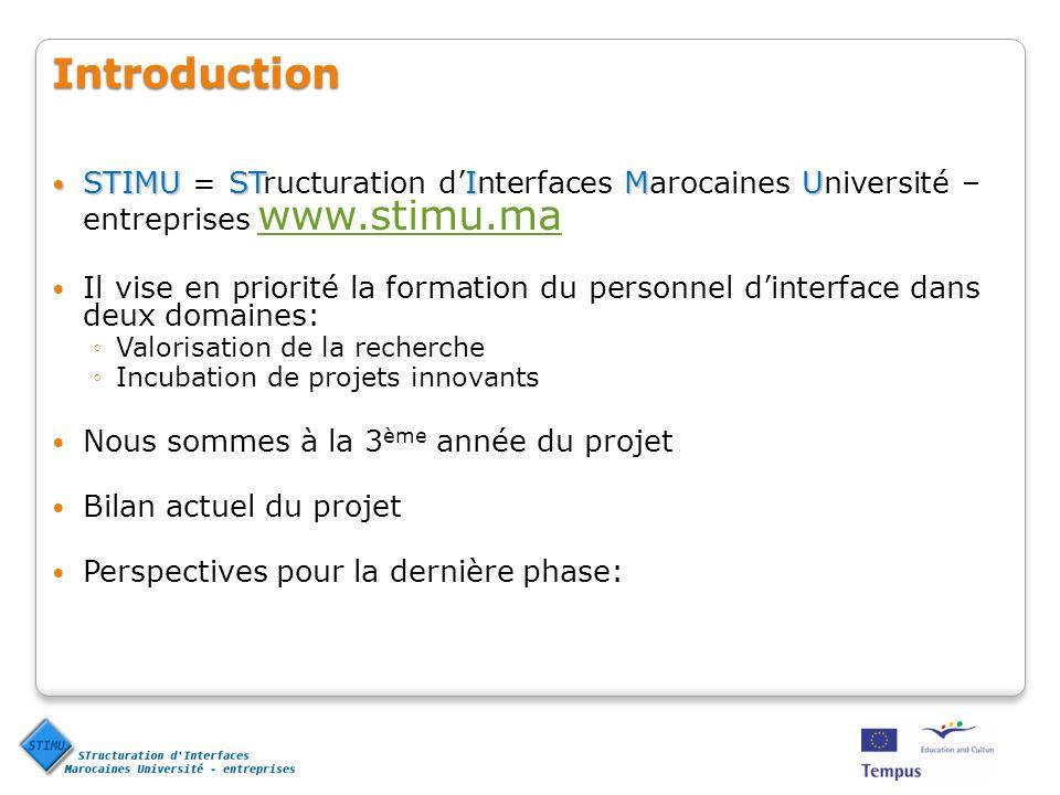 Sessions de formation : Formation sur la Valorisation de la recherche : Session 1 : Faculté de Médecine et de pharmacie de Marrakech (20-23 novembre 2006) Session 2 : ENSEM de Casablanca (12-15 février 2007) Session 3 : prévues à lENS de Tétouan (20-22 novembre 2007)Session 3 : prévues à lENS de Tétouan (20-22 novembre 2007) Formation sur lIncubation de projets innovants : Session 1 : ENSA de Marrakech (12-16 mars 2007) Session 2 : Direction de la Technologie, Rabat (02-06 juillet 2007) Session 3 : prévues à lENS de Tétouan (20-22 novembre 2007)Session 3 : prévues à lENS de Tétouan (20-22 novembre 2007) Bilan 2 ème année