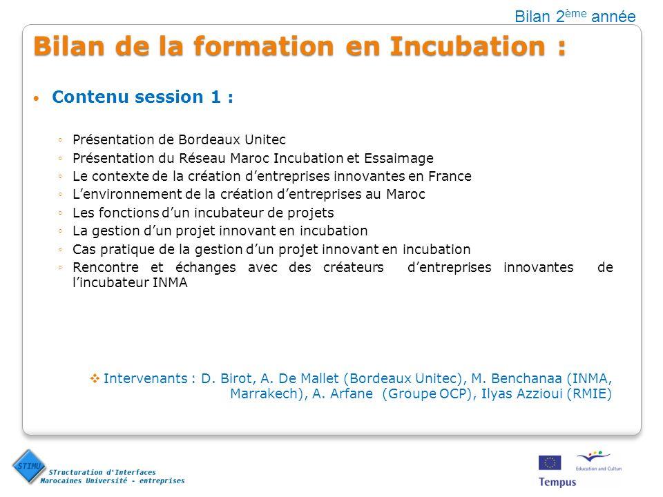 Bilan de la formation en Incubation : Contenu session 1 : Présentation de Bordeaux Unitec Présentation du Réseau Maroc Incubation et Essaimage Le cont