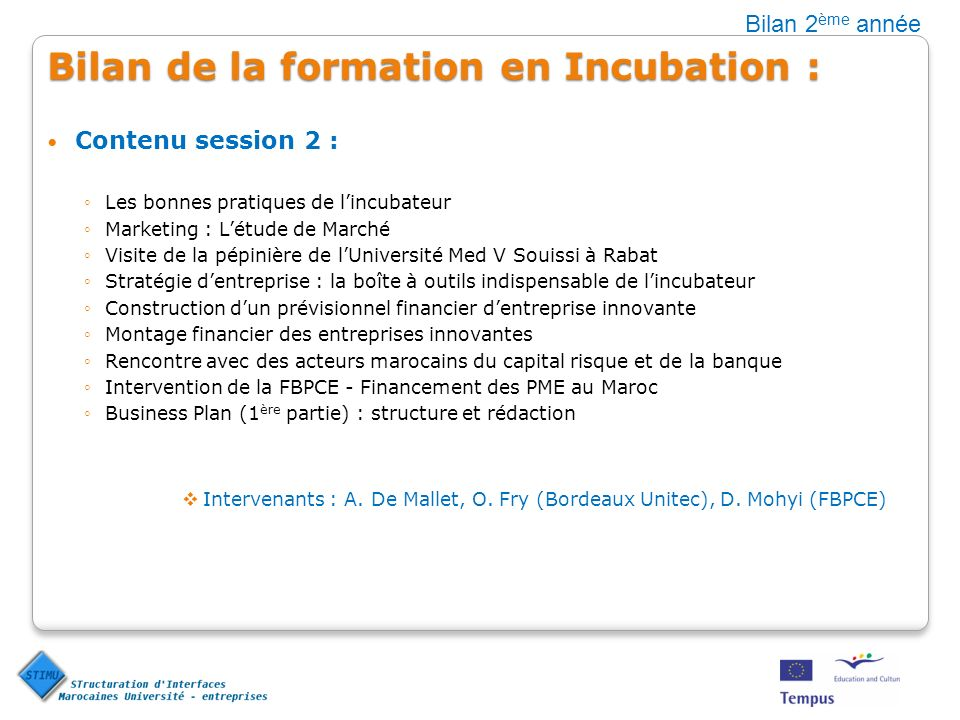 Bilan de la formation en Incubation : Contenu session 2 : Les bonnes pratiques de lincubateur Marketing : Létude de Marché Visite de la pépinière de l