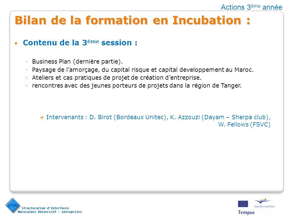 Bilan de la formation en Incubation : Contenu de la 3 ème session : Business Plan (dernière partie). Paysage de lamorçage, du capital risque et capita