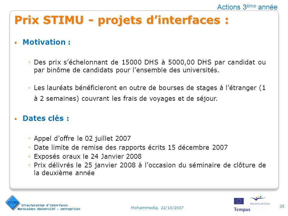 Prix STIMU - projets dinterfaces : Motivation : Des prix séchelonnant de 15000 DHS à 5000,00 DHS par candidat ou par binôme de candidats pour lensemble des universités.