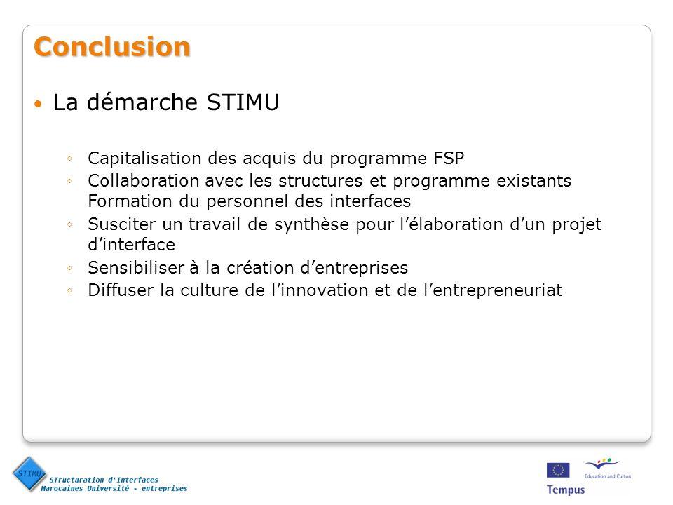 Conclusion La démarche STIMU Capitalisation des acquis du programme FSP Collaboration avec les structures et programme existants Formation du personne