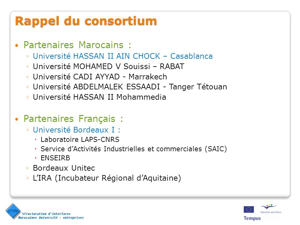 Rappel du consortium Partenaires Marocains : Université HASSAN II AIN CHOCK – Casablanca Université MOHAMED V Souissi – RABAT Université CADI AYYAD -