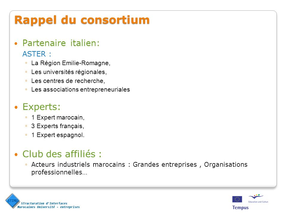Rappel du consortium Partenaire italien: ASTER : La Région Emilie-Romagne, Les universités régionales, Les centres de recherche, Les associations entrepreneuriales Experts: 1 Expert marocain, 3 Experts français, 1 Expert espagnol.