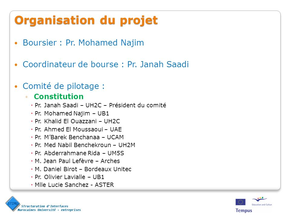 Organisation du projet Boursier : Pr.Mohamed Najim Coordinateur de bourse : Pr.