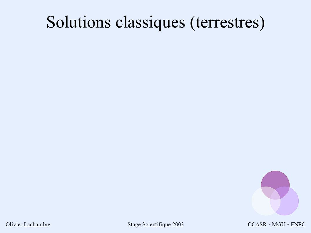 Olivier LachambreStage Scientifique 2003CCASR - MGU - ENPC Solutions classiques (terrestres)