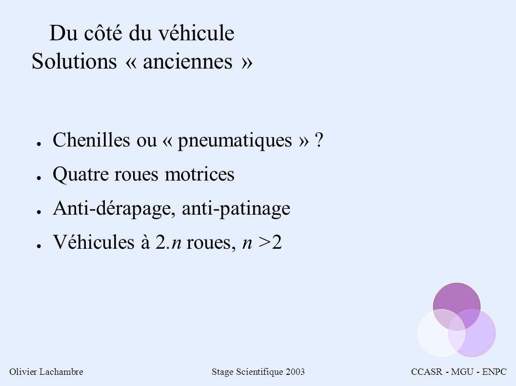 Olivier LachambreStage Scientifique 2003CCASR - MGU - ENPC Du côté du véhicule Solutions « anciennes » Chenilles ou « pneumatiques » .