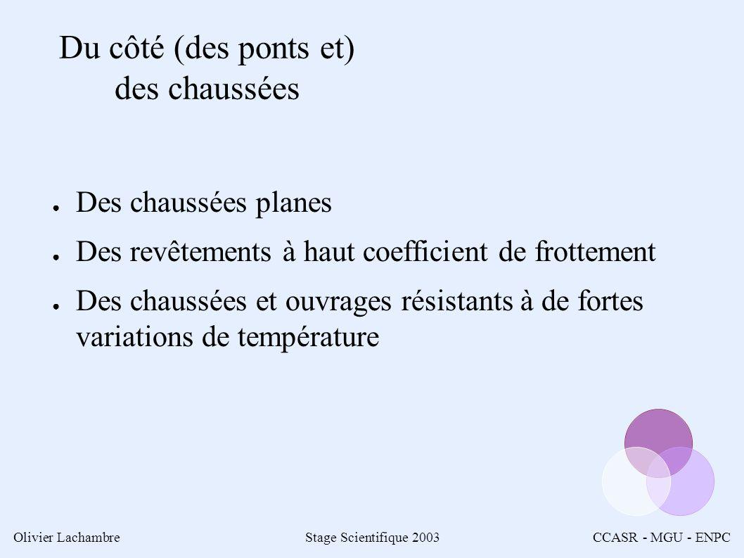 Olivier LachambreStage Scientifique 2003CCASR - MGU - ENPC Du côté (des ponts et) des chaussées Des chaussées planes Des revêtements à haut coefficient de frottement Des chaussées et ouvrages résistants à de fortes variations de température